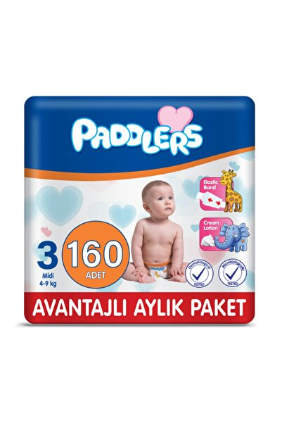 Paddlers Bebek Bezi 3 Numara Midi 160 Adet (4-9 Kg)
