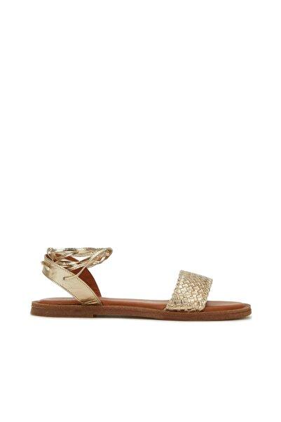Dıvarese Gold Örgü Dokulu Kadın Sandalet