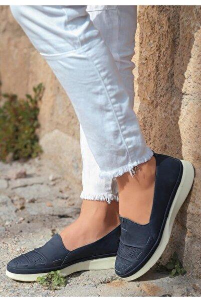 ESPARDİLE Vico Lacivert Deri Babet Ayakkabı