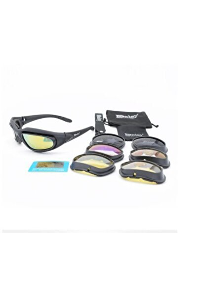 maetheus Daisy C5 Uv400 Polarize Değişebilir 4 Lensli Motorsiklet Gözlüğü-taktik Gözlük