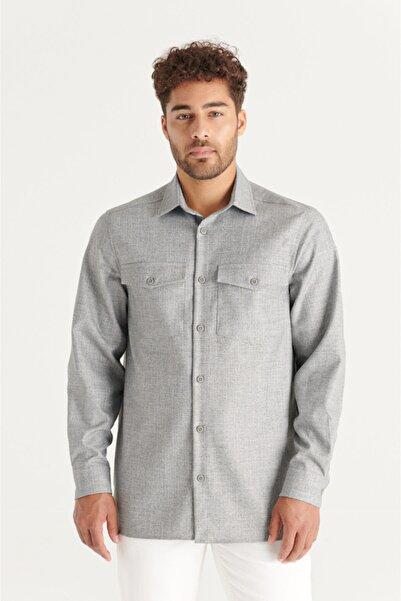 Avva Erkek Açık Gri Armürlü Klasik Yaka Oversized Fit Fermuar Kapamalı Kapaklı Cepli Gömlek A11y2001