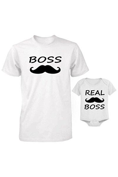 HediyeMania Baba Oğul Bebek Zıbınlı The Boss Baskılı Beyaz Tişört (kombin Yapılabilir Fiyat Ayrı Ayrıdır)