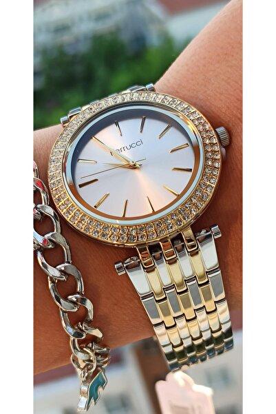 Ferrucci Çift Renkli Kadın  Taşlı Kol Saati Bileklik Hediyeli