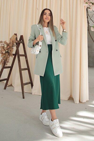 Nil'da Butik Kadın Yeşil Çift Cep Detaylı Ceket