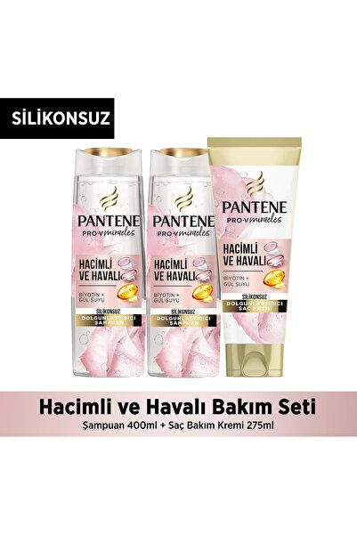 Pantene Silikonsuz Hacim Veren Dolgunlaştırıcı Şampuan ve Saç Kremi Şampuan 400ml+Saç Kremi