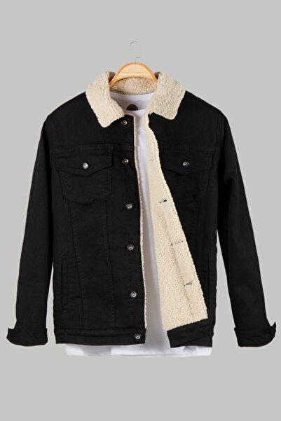 VEAVEN Erkek Siyah Düğmeli Içi Kürklü Kot Ceket Vavn20k-9200078