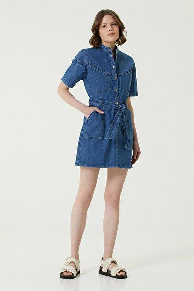 Network Kadın Slim Fit Mavi Dekoratif Dikişli Mini Denim Elbise 1078920