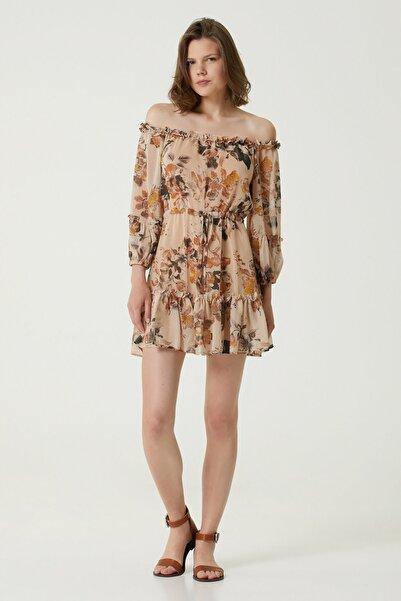 Network Kadın Basic Fit Camel Desenli Mini Elbise 1079824