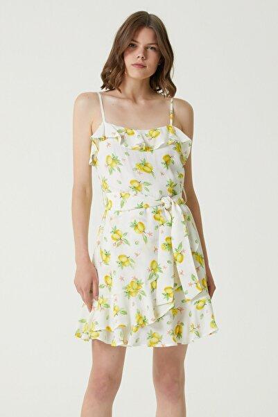 Network Kadın Basic Fit Sarı Limon Desenli Mini Elbise 1079651