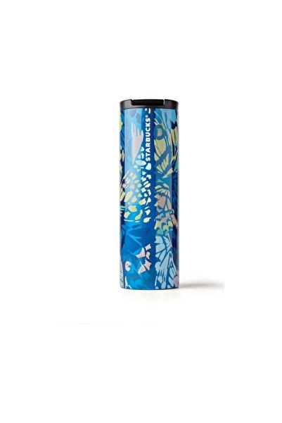 Starbucks Kelebek Tasarımlı Mavi Termos 473 ml