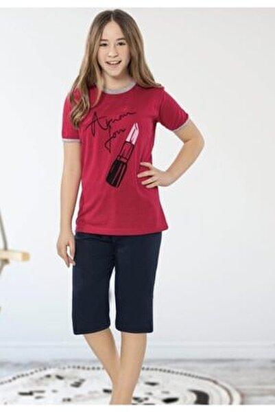 Kız Kırmızı  Ruj Desenli Bermuda Pijama Takımı