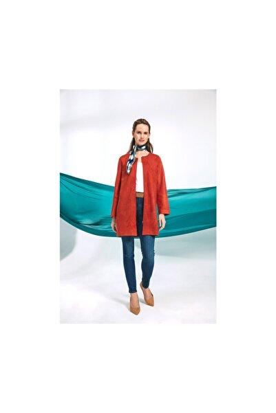 Tchibo Kadın Yanık Portakal Rengi Fermuarlı Uzun Ceket