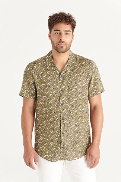 Avva Erkek Haki Baskılı Apaş Yaka Relaxed Fit Yırtmaçlı Ve Kısa Kol Gömlek A11y2152