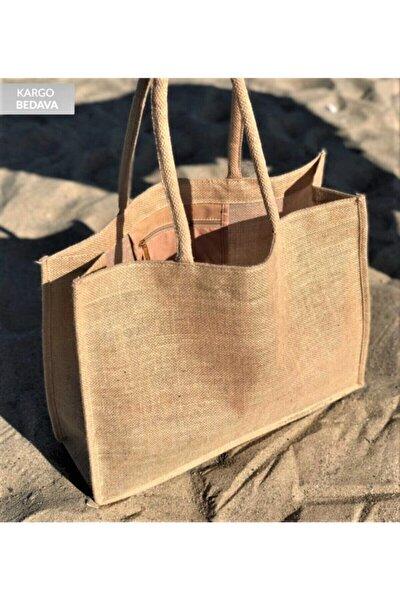 Doğal Atölye Kadın Hasır Plaj Çantası- Jüt Kumaş Ham Renk Yumuşak Saplı