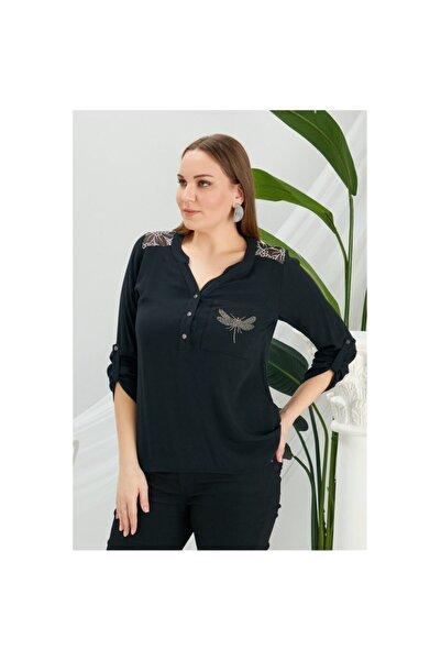RMG Kadın Siyah Sırt Detaylı Büyük Beden Bluz