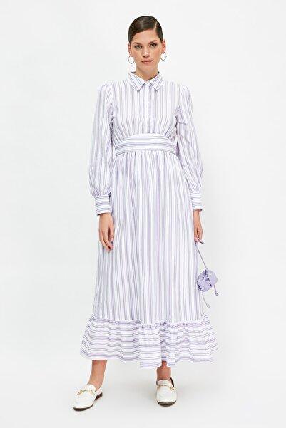 Trendyol Modest Lila Gömlek Yaka Çizgili Tesettür Elbise TCTSS21EL3912