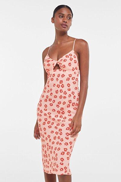 Bershka Kadın Çiçek Desenli Midi Elbise