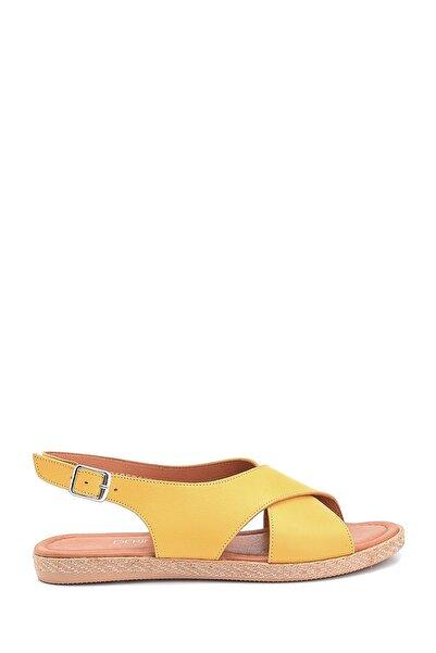 Derimod Kadın Sarı Casual Deri Sandalet