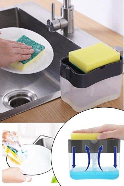 Kitchen Beauty Pompalı Sünger Hazneli Sıvı Sabunluk Lüx Üsten Basmalı Bulaşık Deterjanlığı