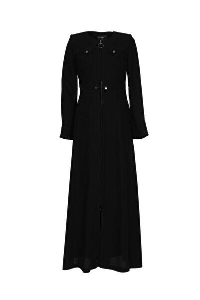 Soydan Basic Kadın Fermuar Kapama Yazlık Uzun Pardesü Siyah 5631
