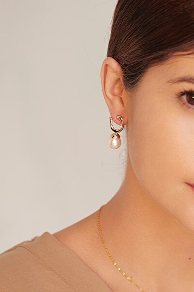 Dora Accessories Incili Geometrik Altın Renk Küpe
