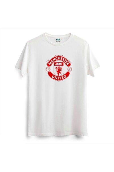 Outrail Beyaz Unisex Manchester United Baskılı T-shirt