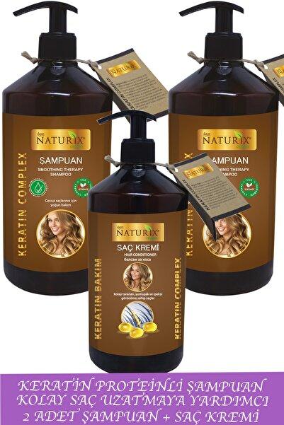 Ilgaz Naturix Organix Bitkisel Onarıcı Keratin Şampuan 2 Adet 600 Ml Keratin Şampuan + 500 Ml Keratin Saç Kremi