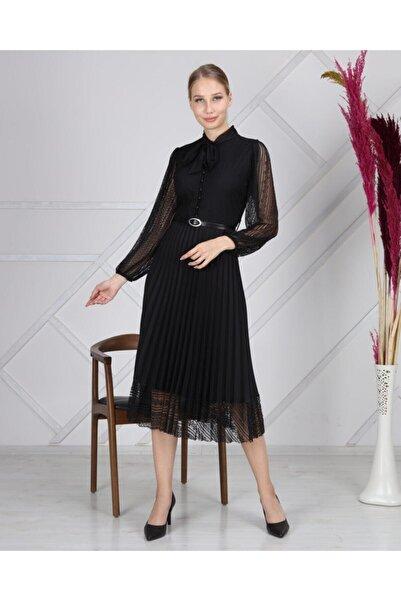 U&T Woman Kadın Siyah Fransız Tül Elbise