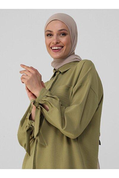 Refka Bağlama Detaylı Arkası Uzun Tunik - Yağ Yeşili - Woman