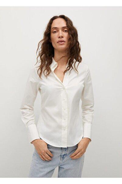 MANGO Woman Kadın Beyaz Gündelik Pamuklu Gömlek