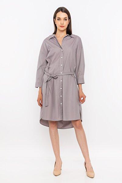 METKON Taş Kuşak Detaylı Gömlek Elbise