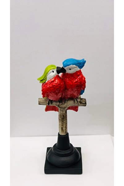 OBJE Çift Papağan -renklı-37x15cm