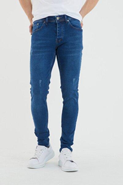 Newtime Erkek Pantolon Mavi Tırnaklı Skinny Fit Likralı