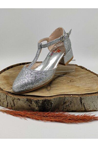 Minican Kız Çocuk Simli Gümüş Filet Ayakkabi 31-35 Numara