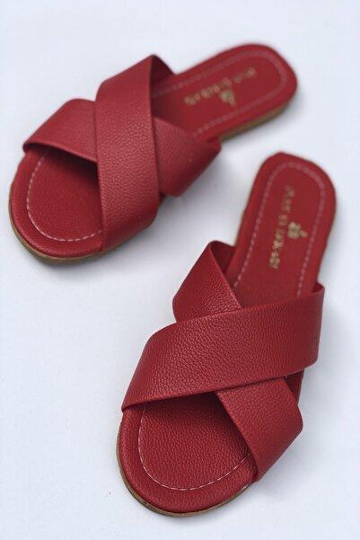 İnan Ayakkabı Kadın Çift Çapraz Bant Detaylı Terlik