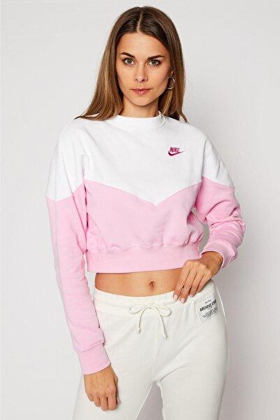 Nike Sportswear Heritage Pembe Loose Fit Kısa Sweatshirt