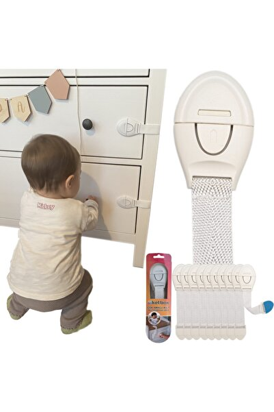 ketbox Çocuk Bebek Çekmece Dolap Beyaz Eşya Güvenlik Emniyet Kilidi Çok Amaçlı Kilit 10 Adet