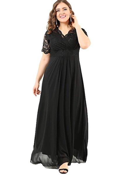ANGELINO Kadın Siyah Üstü Güpür Şifon Abiye Elbise DD793