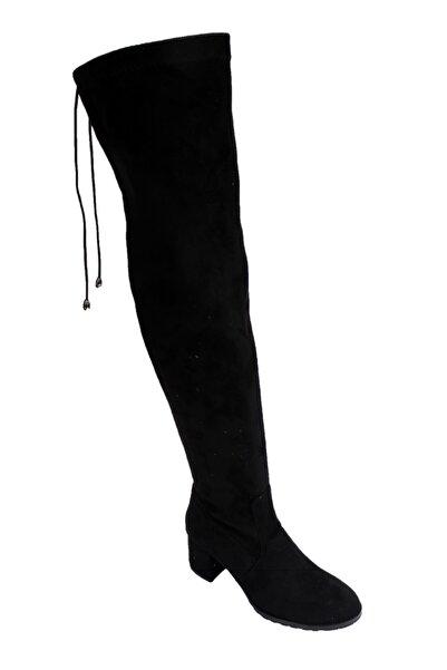 FELES Kadın Siyah Süet 6cm Kalın Topuk Diz Üstü Uzun Streç Çorap Çizme