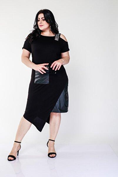 Ebsumu Kadın Büyük Beden Taş Ve Deri Detaylı Asimetrik Kesim Siyah Elbise