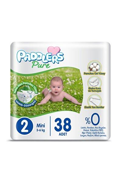 Paddlers Pure Bebek Bezi 2 Numara Mini 38 Adet 3-6 kg Eko Paket + 40'lı Pudra Kokulu Islak Mendil