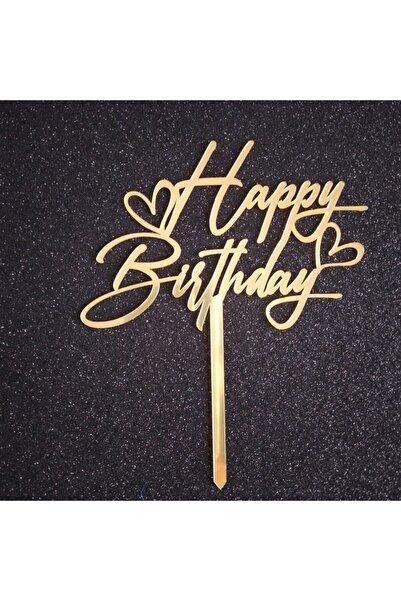 Pozitif Deco Happy Birthday Doğum Günü Kalpli Pasta Süsü