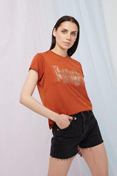 Fashion Friends Kadın Turuncu Bisiklet Yaka Baskılı T-shirt 21y0504b1