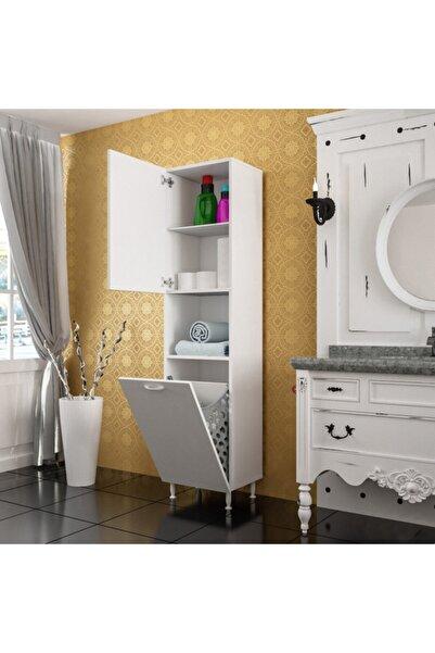 Modilayn Kirli Çamaşır Dolabı Düşer Kapaklı Kirli Sepetli Banyo Dolabı Ard-111