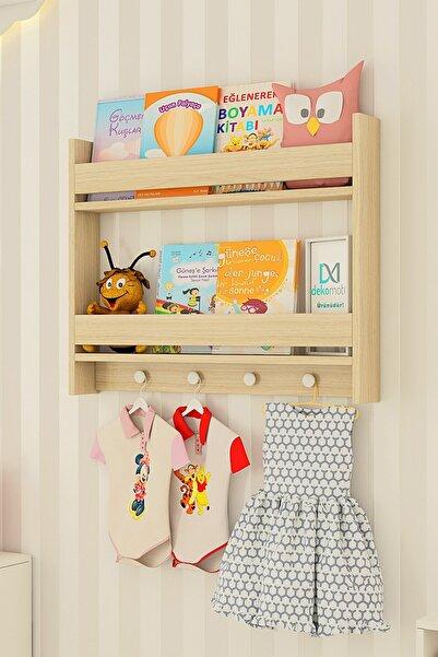 Dekomotif Montessori 2 Raflı Meşe Renk Kıyafet Askılı Çocuk Odası Eğitici Kitaplık