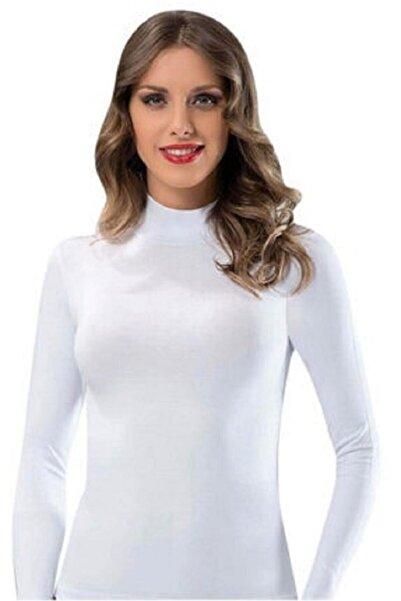Morpink Kadın Beyaz Boğazlı Uzun Kollu Body