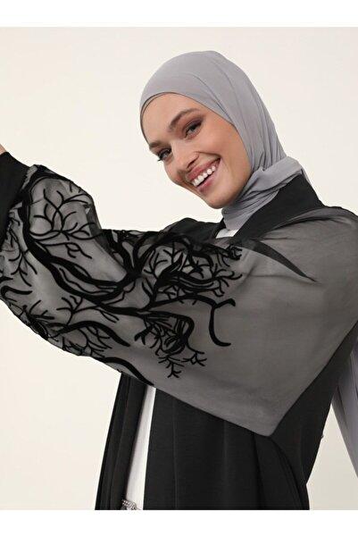 Refka Kolları Tül Detaylı Ferace Kimono - Siyah - Woman