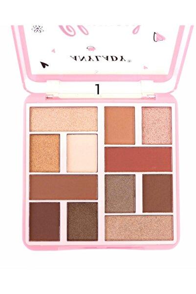 Roesıa Rose Cosmetics Anylady 01 No Glamour Model Makyaj Paleti - Eyeshadow & Blusher & Hıghlıght Palette 12'li