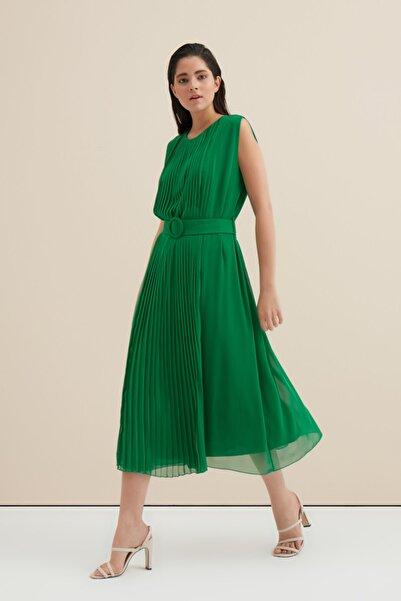 Gusto Uzun Pilise Elbise - Yeşil