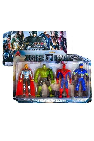 AVENGERS Justice League 4'lü Thor, Hulk, Spiderman, Captain America Figür Oyuncak Seti